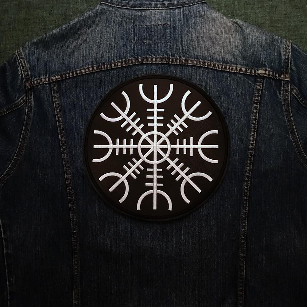 Back Viking patch symbol Aegishjalmur on artificial leather.