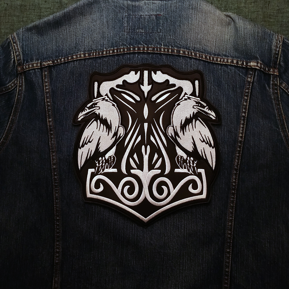 Back Viking patch Thor Hammer & Ravens on artificial leather.