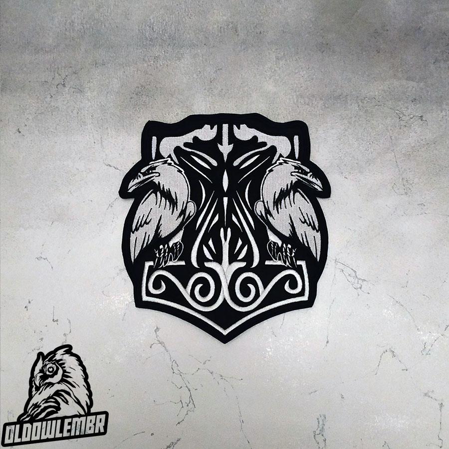 Big Back Patch Viking Thor's Hammer Mjolnir & Ravens.