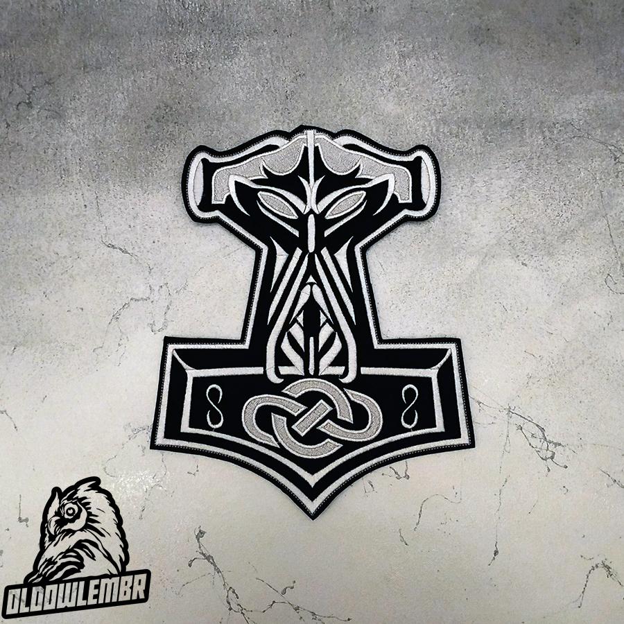 Big Back Patch Viking Thor's Hammer Mjolnir.