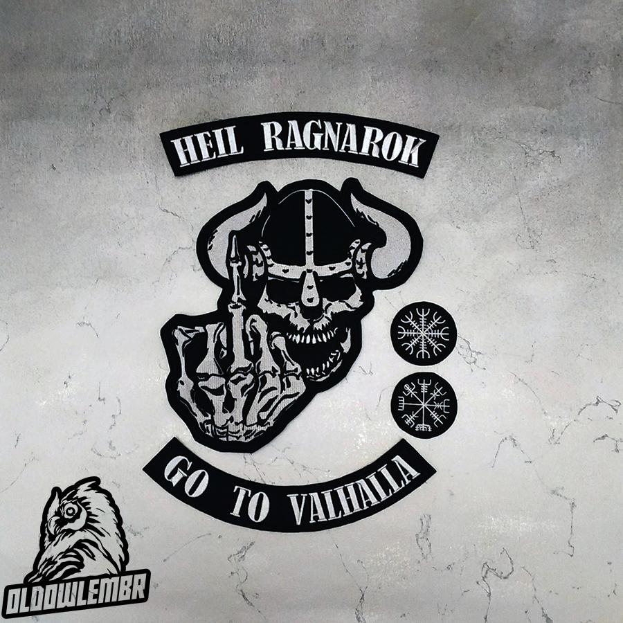 Big Back set patch Viking Heil Wotan + Skull.