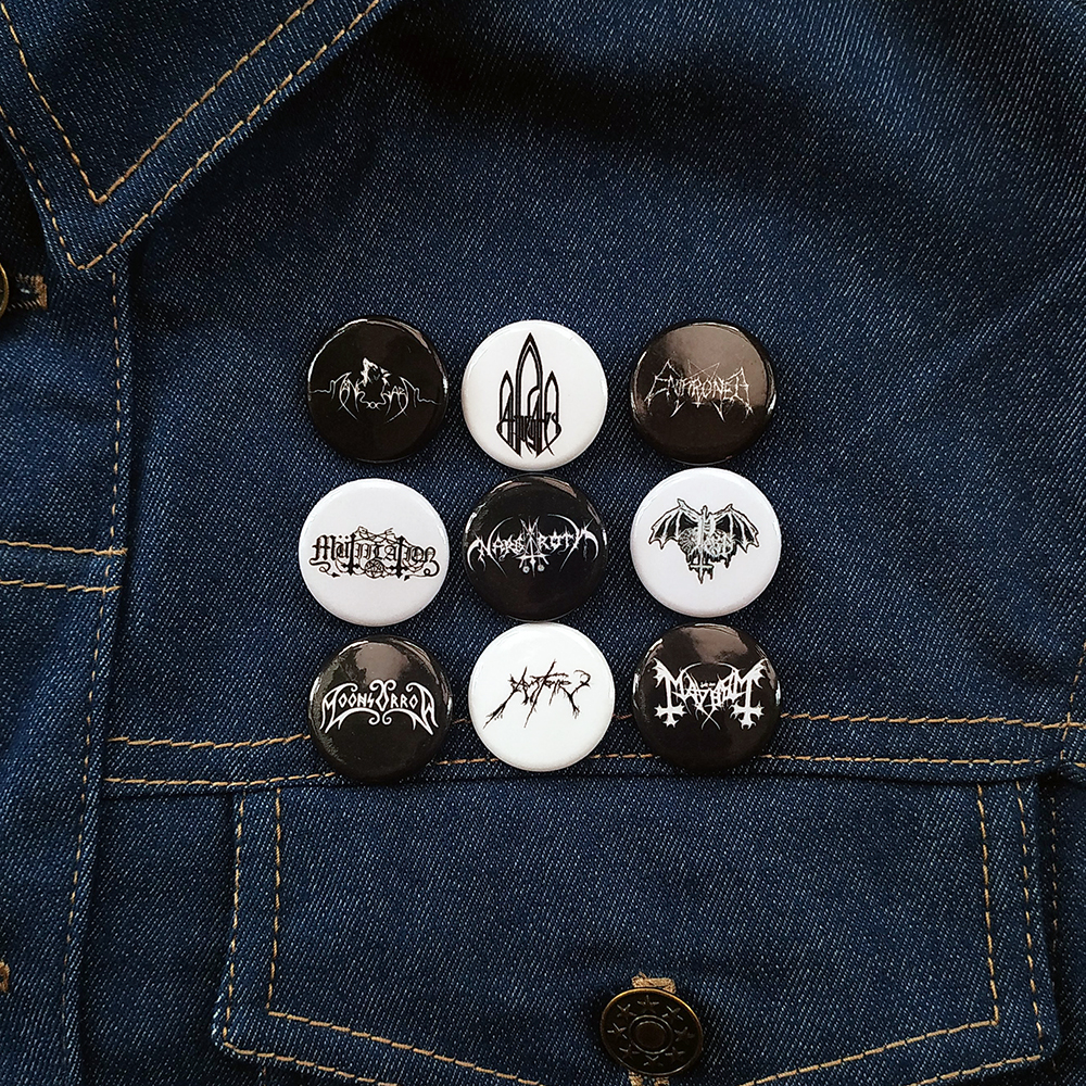 Black Metal Buttons Pins.