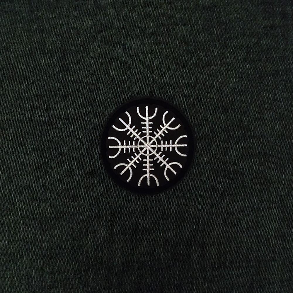 Viking patch symbol Aegishjalmur on artificial leather.