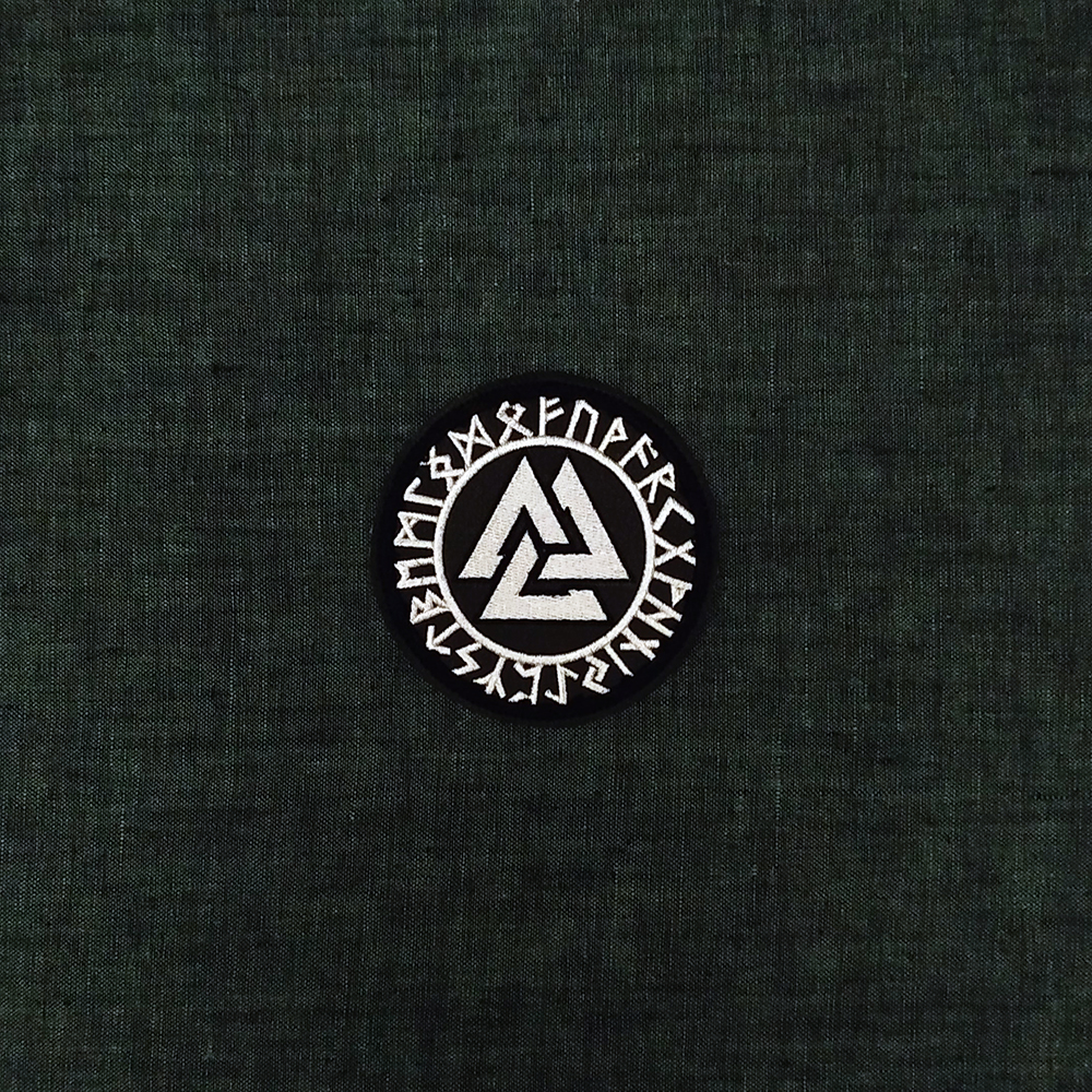 Viking patch symbol Valknut & Runes on artificial leather.