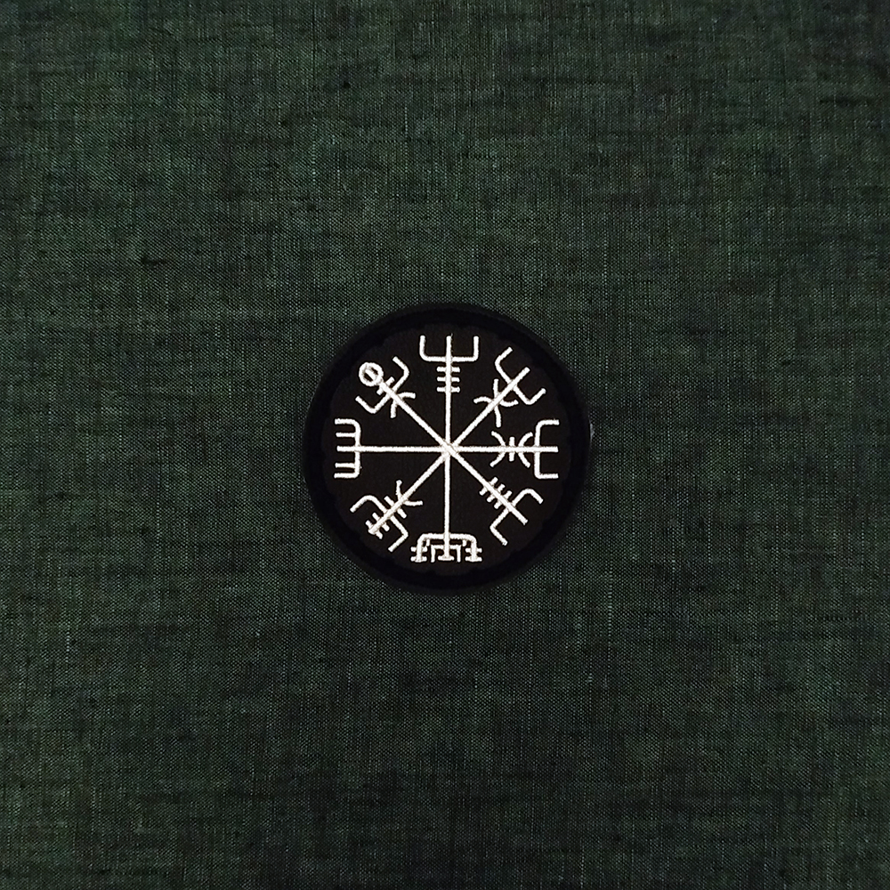 Viking patch symbol Vegvisir on artificial leather.