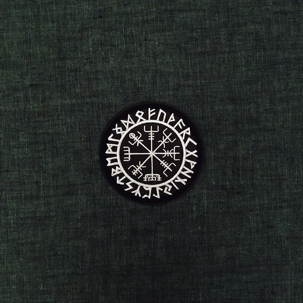 Viking patch symbol Vegvisir & Runes on artificial leather.
